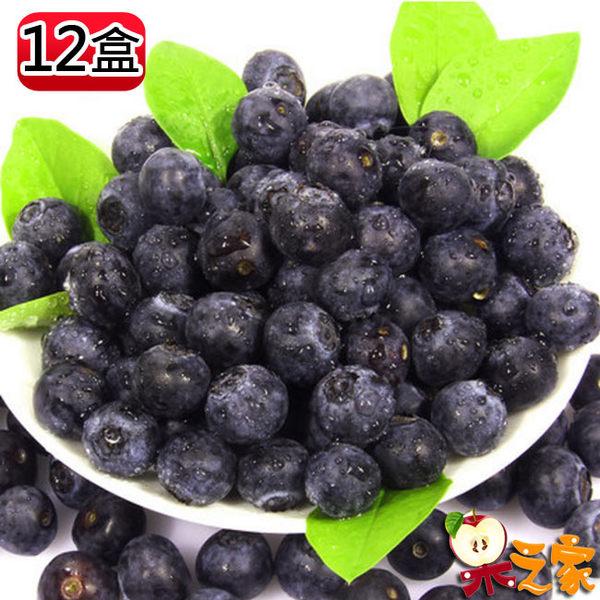果之家 加州空運進口XL級鮮果藍莓12盒(125g/盒)