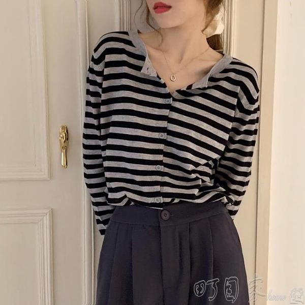 針織上衣2020春秋季新款溫柔風條紋短款長袖針織開衫外套女裝外搭薄款上衣 町目家