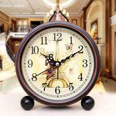 鬧鐘創意學生靜音復古歐式床頭客廳時尚臥室電子小鬧鐘時鐘座鐘 雲雨尚品