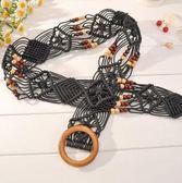 波西米亞風 蠟繩全手工編織女士腰帶女 編織帶 民族風裙帶