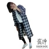 EASON SHOP(GU9782)韓版簡約格紋前排釦磨毛毛料長版OVERSIZE長袖襯衫外套罩衫女上衣服落肩寬鬆