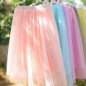 女童半身裙中長款夏季 裝中大童女孩下半身過膝公主紗裙長裙 一米陽光