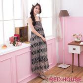【RED HOUSE-蕾赫斯】滿版花朵雪紡長洋裝-網路獨家款(黑色) 滿2000元現抵250元