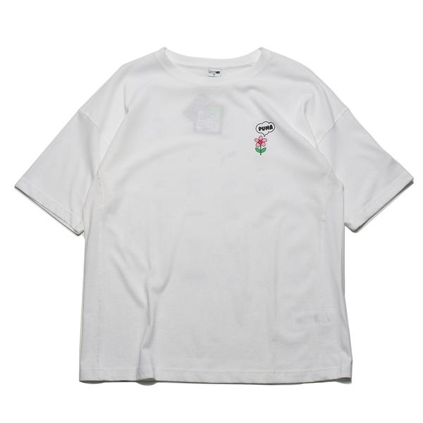 PUMA 上衣 短T DOWN TOWN 白色 小花LOGO T恤 短袖 男 (布魯克林) 53143802