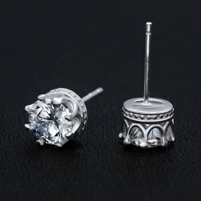 925純銀耳環(耳針式)-經典皇冠生日情人節禮物女飾品73dr63【時尚巴黎】