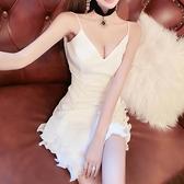 小禮服 2021夏裝新款女網紅性感低胸V領木耳邊露背白色晚禮服吊帶連身裙 非凡小鋪 新品