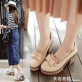 韓版甜美蝴蝶結厚底防水台女鞋子春新款淺口套腳大碼高跟少女單鞋