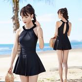溫泉泳衣  女2019新款連身保守裙式顯瘦遮肚性感露背韓國小香風泳裝 快速出貨