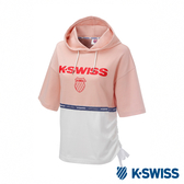 K-SWISS Hood T-Shirt短袖連帽上衣-女-粉紅