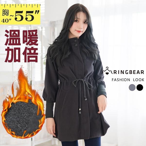 毛呢外套--知性時尚韓版連帽綁帶中長款保暖毛呢大衣外套(黑.灰XL-5L)-J283眼圈熊中大尺碼