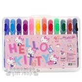 〔小禮堂〕Hello Kitty 盒裝12色絲滑旋轉蠟筆組《粉.45週年》塗鴉筆.彩繪筆 4713791-96389