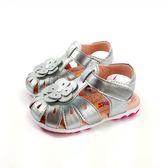 台灣製  小花 護趾寶寶涼鞋 《7+1童鞋》D510銀灰色