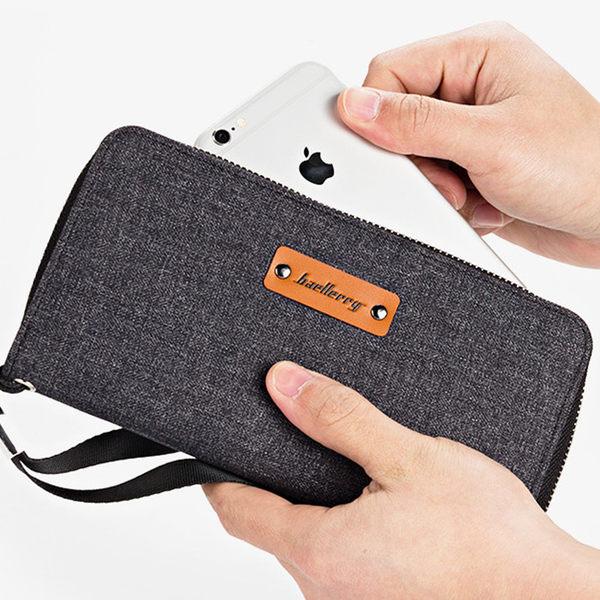 baellerry優質簡約牛仔帆布多卡位長夾皮夾 手機錢包 手拿包  S1521 男包包