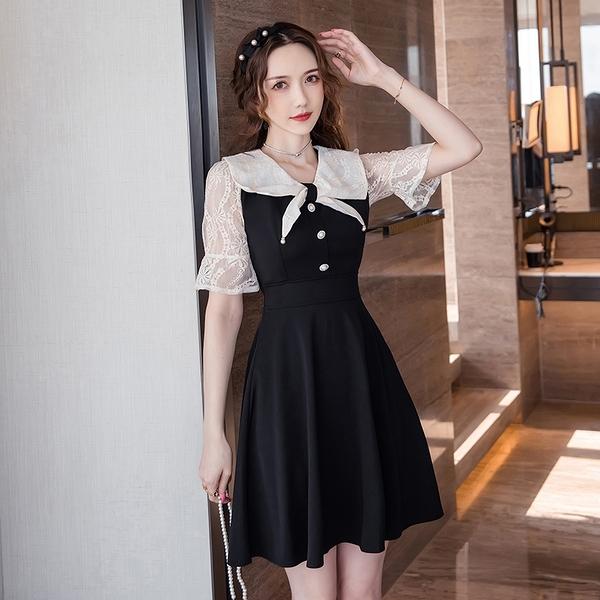 VK旗艦店 韓國風氣質海軍領結蕾絲拼接短袖洋裝