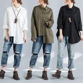 不規則襯衫 大尺碼女裝簡約百搭襯衣外套潮 秋季上新‧衣雅