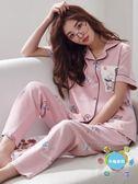 (百貨週年慶)睡衣睡衣女夏季棉質短袖長褲夏天女士正韓兩件套寬鬆可外穿家居服套裝