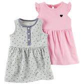 Carter's 美國童裝 短袖 連身裙 洋裝 套裝 條紋 小碎花  粉紅色 灰色 兩件組 3M 6M 9M