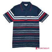男上衣POLO衫 夢特嬌 深藍色紅白條紋吸濕排汗