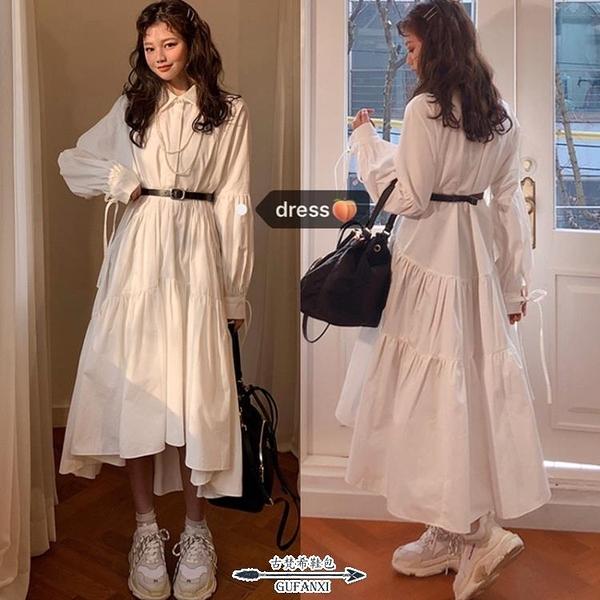 襯裙 鬼馬系chic復古甜美超仙仙襯衫綁帶POLO領內搭長款連衣裙女 - 古梵希