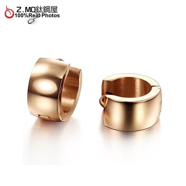 [Z-MO鈦鋼屋]C扣白鋼耳環,素面玫瑰金,抗過敏不生鏽,好友禮物推薦單個價【EKS251】