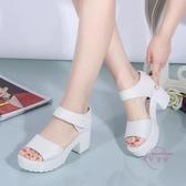 涼鞋 夏季正韓中跟防水臺涼鞋厚底楔形女學生粗跟鬆糕厚底魚嘴高跟大尺碼
