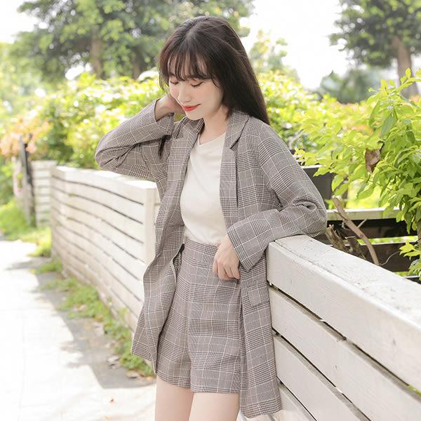 IN'SHOP千鳥格紋西裝外套+短褲套裝-共2色【KT24217】