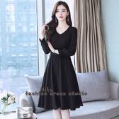 依Baby 雪紡洋裝春夏新款女裝收腰顯瘦氣質長袖流行春秋黑色裙子