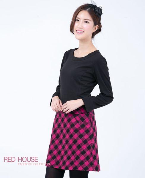 RED HOUSE-蕾赫斯-素面拼接格子洋裝(共2色) 冬季最後出清