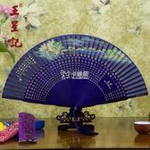 摺扇 扇子女式折扇中國風 西湖風景 日式真絲絹扇古風禮品扇 卡菲婭
