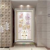 新春狂歡 簡約現代過道走廊單幅掛畫簡歐玄關裝飾畫豎版客廳餐廳壁畫郁金香