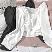 一字肩 甜美春裝百搭褶皺氣質小衫露肩一字領性感短上衣韓版顯瘦修身長袖襯衫