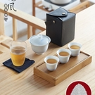 旅行蓋碗茶具套裝日式家用陶瓷小茶杯功夫茶一壺三杯快客便攜式包wl11744[黑色妹妹]