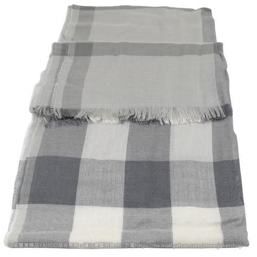 茱麗葉精品 全新精品 BURBERRY 3906313 英系經典格紋絲質羊毛披肩圍巾/絲巾.灰