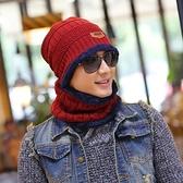 針織毛帽 加絨圍脖兩件組-加厚護耳毛線保暖男女配件8色73pp485[時尚巴黎]