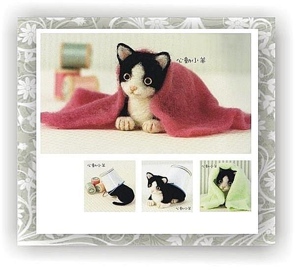 心動小羊^^仿真小淘氣黑白貓美麗諾羊毛羊毛氈材料包、可製作成手機吊飾(純羊毛製品)