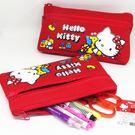 Hello kitty大紅雙拉鍊筆袋收納 化妝包 零錢包(正版)-艾發現
