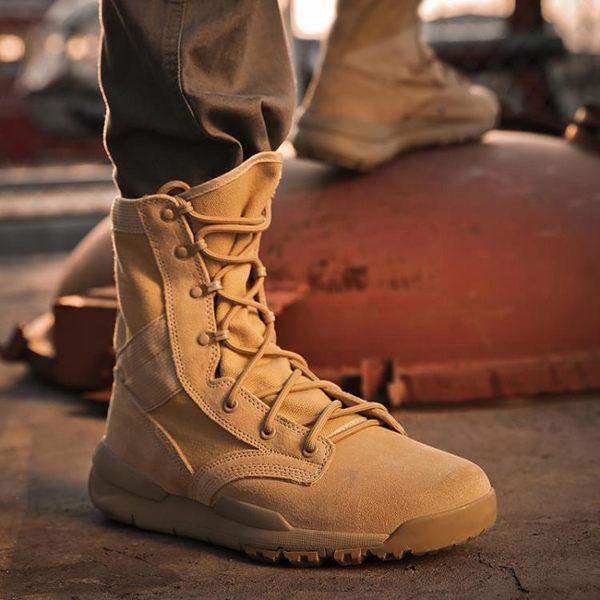 靴子 秋季馬丁靴男2018新款高幫鞋戶外真皮沙漠靴百搭靴子潮軍靴雪地靴