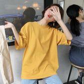 韓版夏季chic風簡約寬鬆純色 學生百搭糖果色短袖t恤上衣打底衫女 魔方