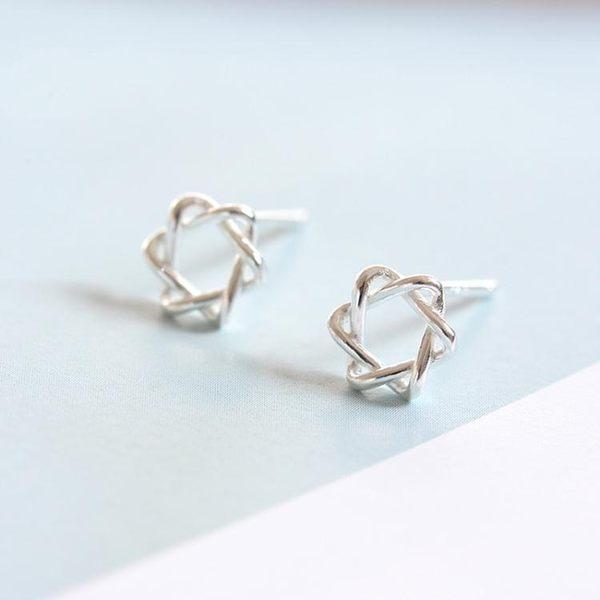 雙十一返場促銷耳釘耳環s925銀質迷你六芒星耳釘女韓國個性簡約氣質防過敏創意文藝耳飾品