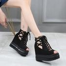 2020夏季新款內增高坡跟厚底涼鞋女百搭高跟防水臺魚嘴涼靴ins潮 韓國時尚週