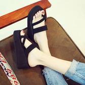 拖鞋女夏時尚厚底防滑鬆糕高跟套趾涼拖鞋外穿坡跟人字拖女沙灘鞋 【PINK Q】