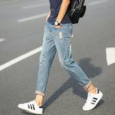 中大尺碼 港風破洞九分牛仔褲男士修身型韓版薄款寬鬆 JA1268 『伊人雅舍』
