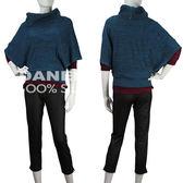 【岱妮蠶絲】HL3011T寬版翻領混色蠶絲針織衫(土耳其藍)