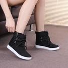 韓版女短靴高筒鞋帆布鞋圓頭系帶學生厚底休閒單鞋女  夏季新品