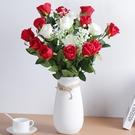 仿真玫瑰花客廳裝飾情人節花束餐桌單支假花干花擺件塑料插花擺設 優拓