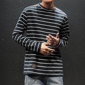 2018冬季條紋長袖T恤打底衫男士加肥大碼胖子圓領衣服韓版潮男裝  西城故事