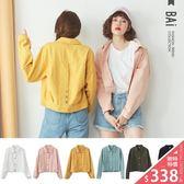 外套 雙口袋排釦斜紋布短版夾克-BAi白媽媽【160767】
