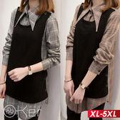 假兩件格釦子背心格紋襯衫XL-5XL O-ker歐珂兒 158919-1