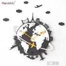 北歐掛鐘客廳創意美式個性掛錶現代靜音時鐘家用石英鐘錶HM 3C優購