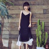 無袖洋裝大尺碼韓國假兩件吊帶連身裙巴厘島雪紡長裙度假沙灘裙 父親節降價
